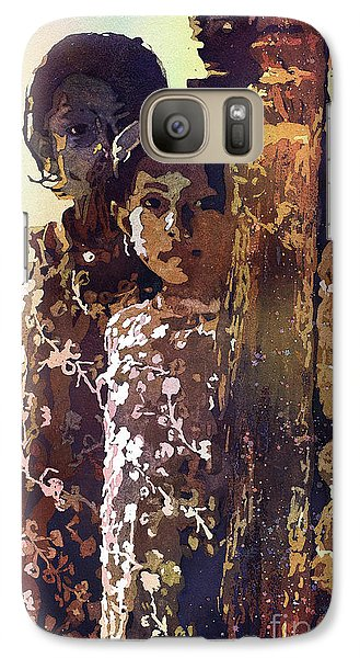Galaxy Case featuring the painting Nepalese Girls by Ryan Fox
