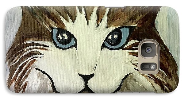 Galaxy Case featuring the painting Nerd Cat by Victoria Lakes