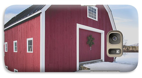 Galaxy Case featuring the photograph New England Red Barn Winter Orford by Edward Fielding