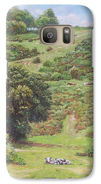 Galaxy Case featuring the painting New Forest Hill With Cows And Horses by Martin Davey