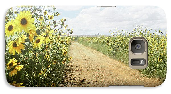 Galaxy Case featuring the photograph New Mexico Sunflower Road by Andrea Hazel Ihlefeld
