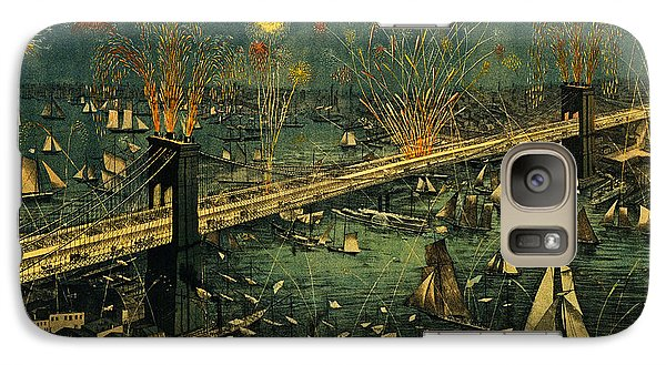 Galaxy Case featuring the photograph New York And Brooklyn Bridge Opening Night Fireworks by John Stephens