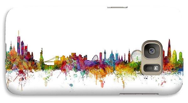 New York And London Skyline Mashup Galaxy S7 Case by Michael Tompsett