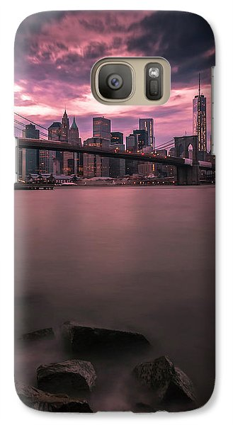 Galaxy Case featuring the photograph New York City Brooklyn Bridge Sunset by Ranjay Mitra