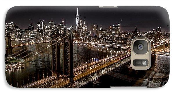 Galaxy Case featuring the photograph New York City, Manhattan Bridge At Night by Petr Hejl