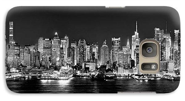 New York City Nyc Skyline Midtown Manhattan At Night Black And White Galaxy S7 Case