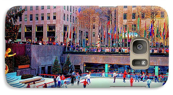 Galaxy Case featuring the photograph  New York City Rockefeller Center Ice Rink  by Tom Jelen