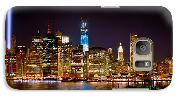 Brooklyn Bridge Galaxy S7 Case - New York City Tribute In Lights And Lower Manhattan At Night Nyc by Jon Holiday