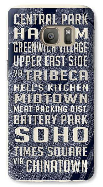 Harlem Galaxy S7 Case - New York City Vintage Subway Stops With Map by Edward Fielding