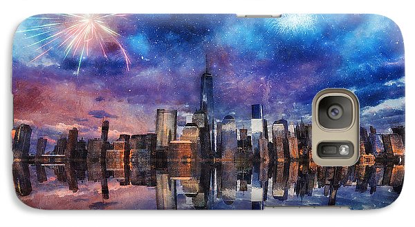 Galaxy Case featuring the photograph New York Fireworks by Ian Mitchell