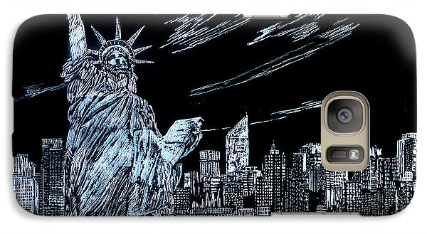 Galaxy Case featuring the drawing New York New York New York  by Saad Hasnain