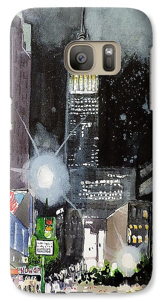 Galaxy Case featuring the painting New York Night by Tom Riggs