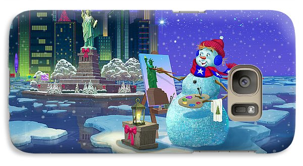 Statue Of Liberty Galaxy S7 Case - New York Snowman by Michael Humphries