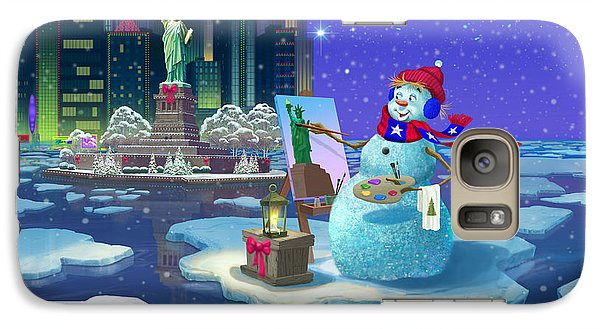 Galaxy Case featuring the painting New York Snowman by Michael Humphries
