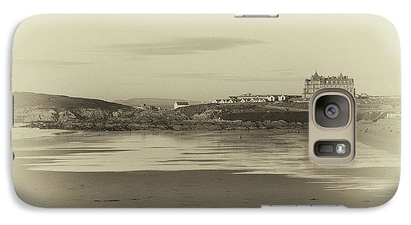 Galaxy Case featuring the photograph Newquay With Old Watercolor Effect  by Nicholas Burningham