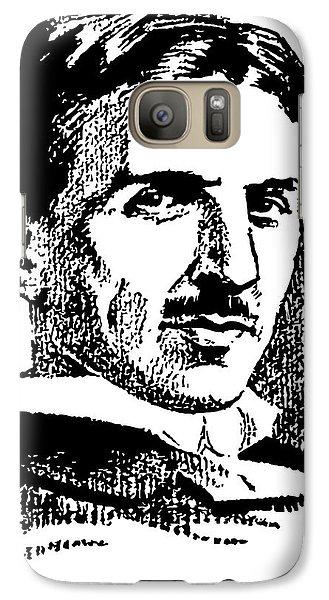 Galaxy Case featuring the digital art Newspaper Nikola Tesla  by Daniel Hagerman