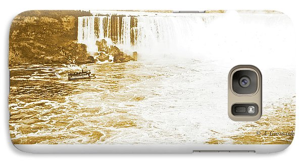 Galaxy Case featuring the photograph Niagara Falls Ferry Boat 1904 Vintage Photograph by A Gurmankin
