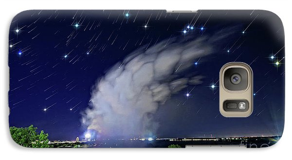 Galaxy Case featuring the photograph Niagara Falls Rising Mist Under Starry Sky by Charline Xia