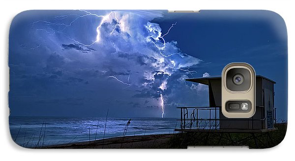 Galaxy Case featuring the photograph Night Lightning Under Full Moon Over Hobe Sound Beach, Florida by Justin Kelefas
