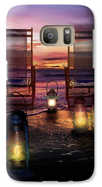 Galaxy Case featuring the photograph Night Lights At Sunset by Debra and Dave Vanderlaan