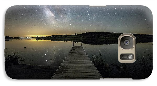 Galaxy Case featuring the photograph Night On The Dock by Aaron J Groen