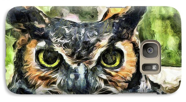Galaxy Case featuring the mixed media Night Owl by Trish Tritz