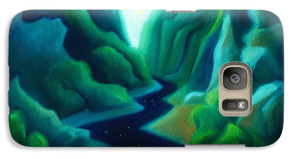 Galaxy Case featuring the painting Night River by Angela Treat Lyon