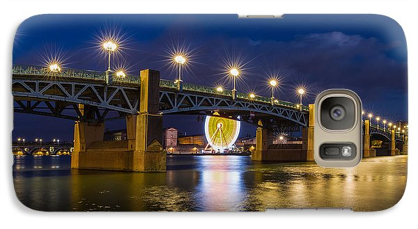 Galaxy Case featuring the photograph Night Shot Of The Pont Saint-pierre by Semmick Photo