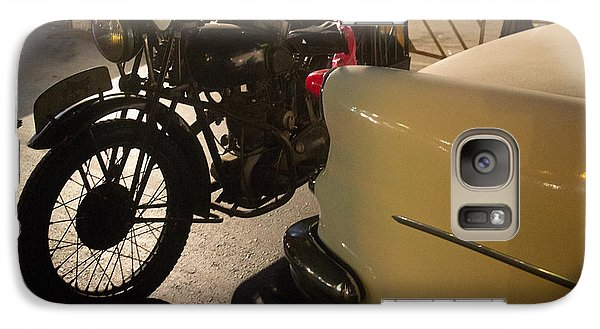 Galaxy Case featuring the photograph Night Time Silhouette Of Vintage Motorcycle Near Tail Of 50's St by Jason Rosette