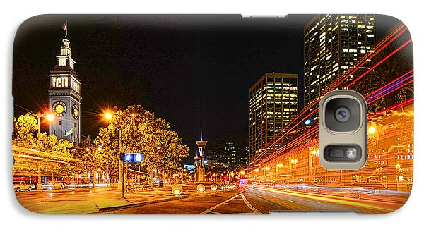 Galaxy Case featuring the photograph Night Trolley On Time by Steve Siri