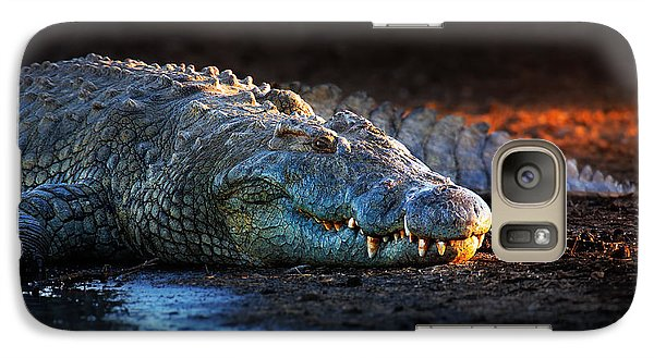 Nile Crocodile On Riverbank-1 Galaxy Case by Johan Swanepoel