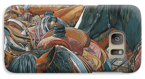 Galaxy Case featuring the painting Nine Saddled by Nadi Spencer