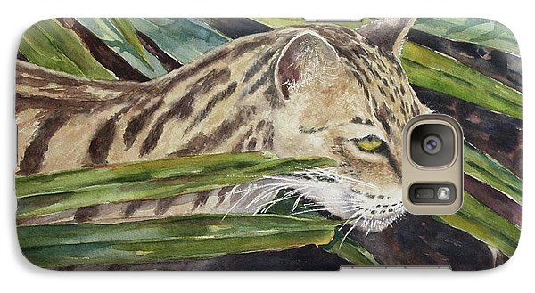 Galaxy Case featuring the painting Nirvana - Ocelot by Roxanne Tobaison