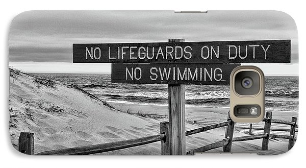 Galaxy Case featuring the photograph No Lifeguards On Duty Black And White by Paul Ward