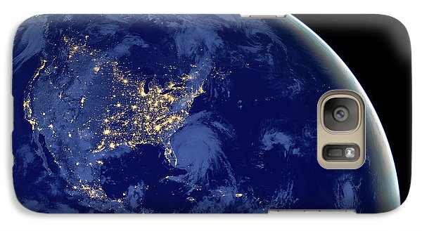 Galaxy Case featuring the photograph North America From Space by Delphimages Photo Creations