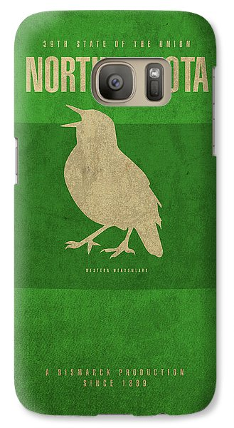 North Dakota State Facts Minimalist Movie Poster Art Galaxy S7 Case by Design Turnpike