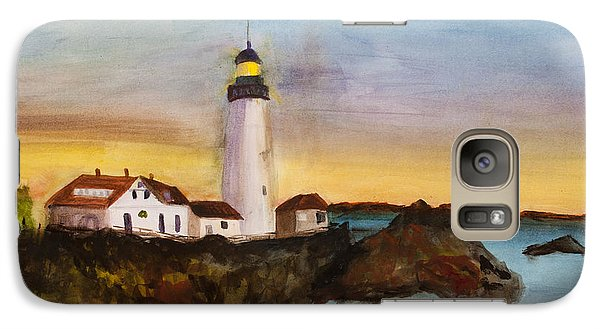 Galaxy Case featuring the painting North Truro Light House Cape Cod by Donna Walsh