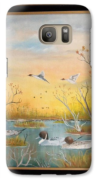 Galaxy Case featuring the painting Northen Pintails by Al  Johannessen