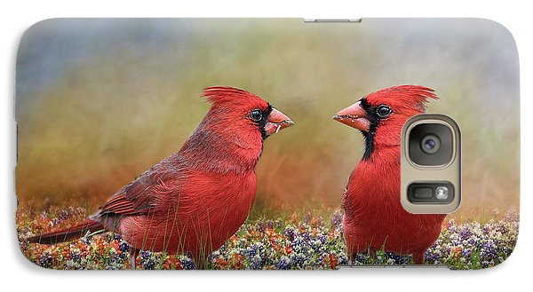 Galaxy Case featuring the photograph Northern Cardinals In Sea Of Flowers by Bonnie Barry