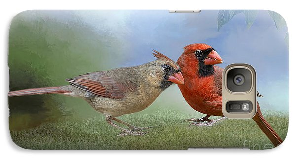 Galaxy Case featuring the photograph Northern Cardinals On A Spring Day by Bonnie Barry