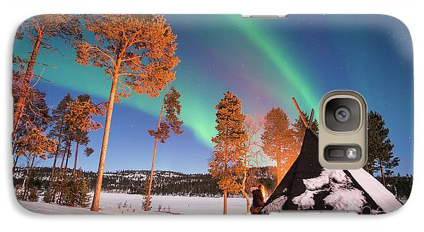 Galaxy Case featuring the photograph Northern Lights By The Lake by Delphimages Photo Creations