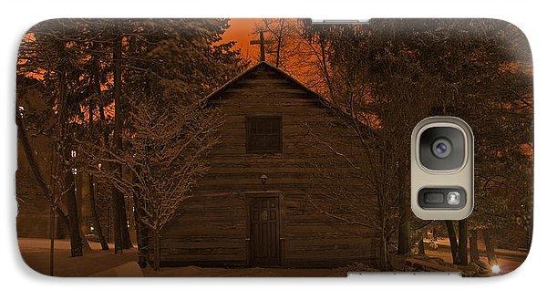 Notre Dame Log Chapel Winter Night Galaxy Case by John Stephens