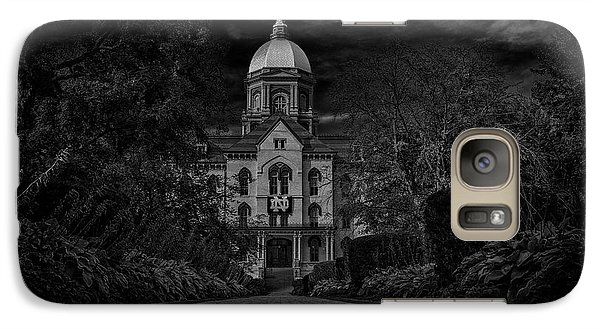 Galaxy Case featuring the photograph Notre Dame University Golden Dome Bw by David Haskett