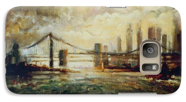 Galaxy Case featuring the painting Nyc Harbor by Walter Casaravilla