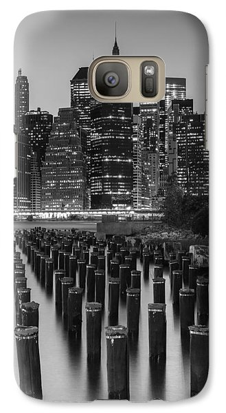 Galaxy Case featuring the photograph Nyc Skyline Bw by Laura Fasulo