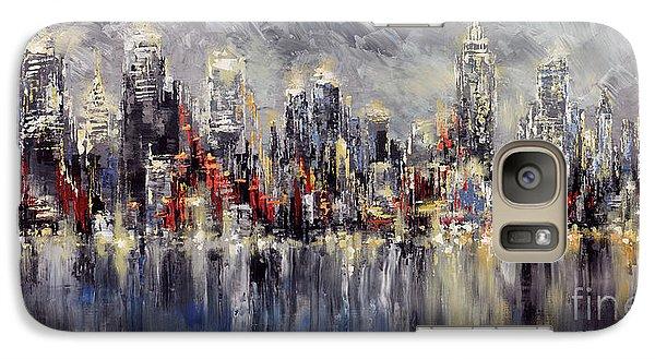 Galaxy Case featuring the painting Nyc Lights by Tatiana Iliina