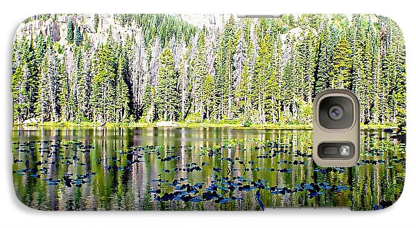 Galaxy Case featuring the photograph Nymph Lake And Flattop Mountain by Joseph Hendrix