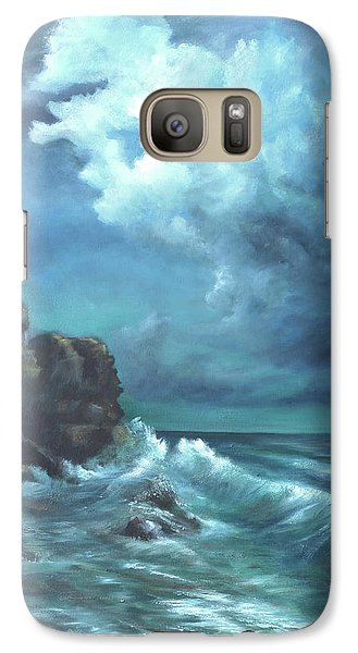 Galaxy Case featuring the painting Seascape And Moonlight An Ocean Scene by Luczay