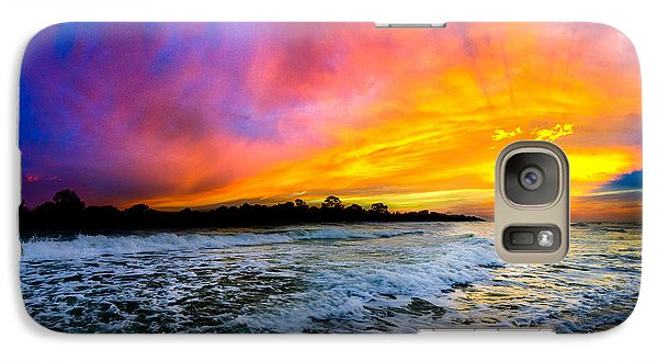 Galaxy Case featuring the photograph Ocean Sunset Landscape Photography Red Blue Sunset by Eszra Tanner