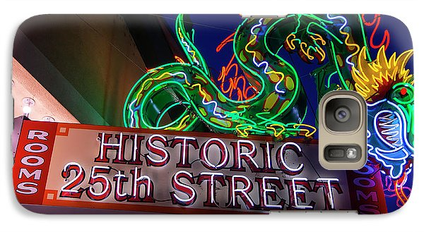 Galaxy Case featuring the photograph Ogden's Historic 25th Street Neon Dragon Sign by Gary Whitton